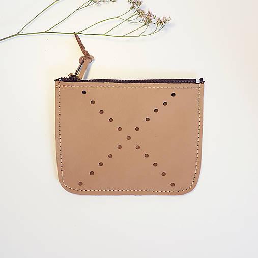 Peňaženky - Malá kožená peněženka béžévá kříž - 12988354_