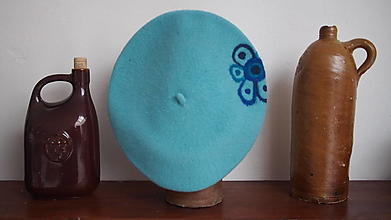 Čiapky - Modrý květ - 12986006_