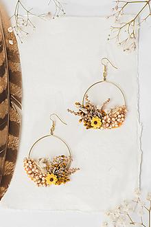 """Náušnice - Kvetinové kruhové náušnice """"dotyk slnka 3"""" - 12985695_"""