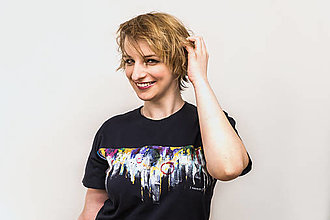 Tričká - Unisex tmavomodré maľované tričko s abstraktným vzorom - 12988027_