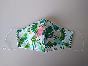 Rúška - Dizajnové rúško papagáj tvarované dvojvrstvové - 12991312_