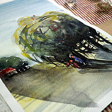 Kresby - Schovaný neschovaný, idem!/ akvarelový originál by Richie Bumpkin - 12993437_