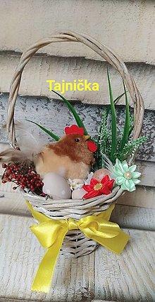 Dekorácie - Dekorácia sliepka v košíku - 12993186_