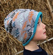 Detské čiapky - Dino ... dvojvrstvová čiapka - 12991843_