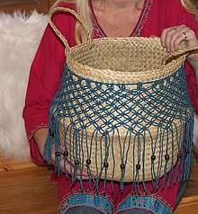 Nádoby - Bohémsky košík z morskej trávy Athéna - 12991583_