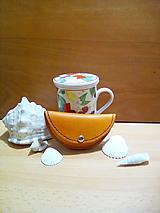 Peňaženky - Kožená peňaženka - žlto-oranžovo-hnedá, oblá - 12993017_