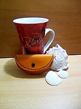 Peňaženky - Kožená peňaženka - sýta oranžová, oblá - 12993028_