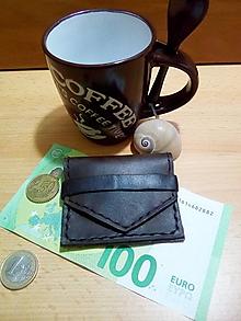Peňaženky - Kožená mini peňaženka - gaštanová - 12991613_