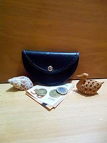 Peňaženky - Kožená peňaženka - čierna, oblá - 12991695_