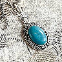 Náhrdelníky - Turquoise & Antique Silver Necklace / Náhrdelník s tyrkysom v starostriebornom prevedení - 12995568_