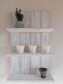 Nábytok - Polička - ornament sivý - 12997694_