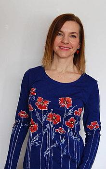 Tričká - Maľované tričko s dlhým rukávom Maky - kráľovská modrá - 12996690_