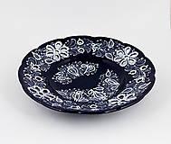 Nádoby - Tanier s vyrezávanými kvetmi modrá glazúra - 12996648_