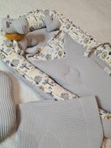 Textil - Hniezdo pre bábätko - hroch a sloník v sivej vafle - 12997712_
