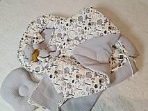 Textil - Hniezdo pre bábätko - hroch a sloník v sivej vafle - 12997714_