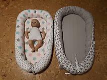 Textil - Hniezdo pre bábätko - hroch a sloník v sivej vafle - 12997717_