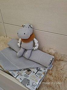 Textil - Detská   súprava  :    deka + hrošík - 12996314_