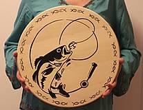 Pomôcky - Darček pre rybára -drevený servírovací podnos /otočná tácka/ - 12997792_