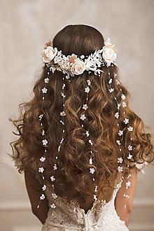 """Ozdoby do vlasov - Svadobný polvenček s kvetinovým závojom """"dotyky dvoch duší"""" - 12999322_"""