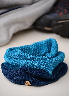 Šály - Nákrčník HIKER unisex tyrkysovo-modrý, 100% merino - 12996562_
