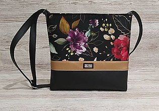 Kabelky - Crossbody kabelka 25 ruže na čiernom - 12998526_
