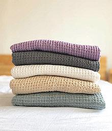 Úžitkový textil - Vaflové ľanové prehozy na posteľ - 12998182_
