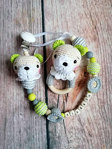 Hračky - Set baby retiazka na cumlík +hrkálka - 13003490_