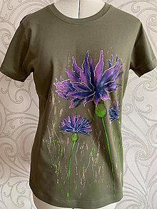 Tričká - Maľované tričko Nevädza - khaki - 13000894_