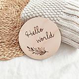 Tabuľky - Drevený miľník - Hello world - 13004915_