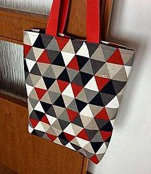 Nákupné tašky - taška trojuholníky - 13001631_