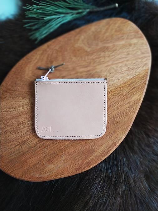 Peňaženky - Mincovka přírodní s růžovým zipem - 13003434_