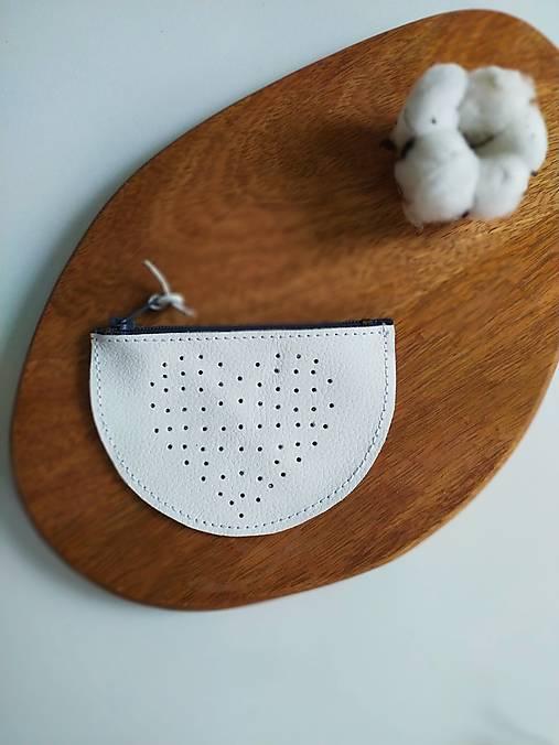 Peňaženky - Mincovka kožená bílé srdce - 13003601_