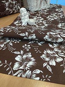 Úžitkový textil - Obrus -štóla  v hnedom - 13003361_