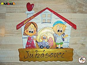 Tabuľky - Menovka - rodinka a domček - 12999923_