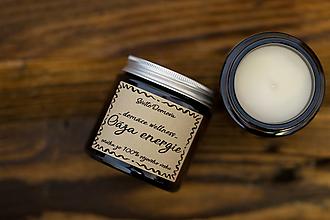 Svietidlá a sviečky - Sviečka zo sójového vosku v hnedom skle - Oáza energie - 13002007_