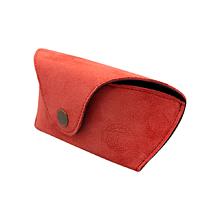 Iné doplnky - Ochranné puzdro na okuliare z brúsenej kože červené - 13000367_