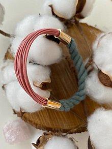 Náramky - Lanový náramek - šedá & růžová - 13004296_