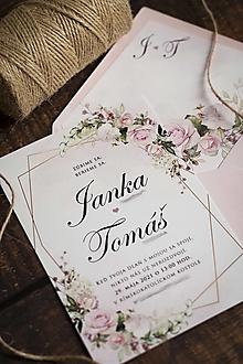 """Papiernictvo - Svadobné oznámenie """"Ružový kvet"""" ❤ - 13000160_"""