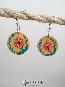 Náušnice - Brezové okrúhle maľované náušnice - 13001284_