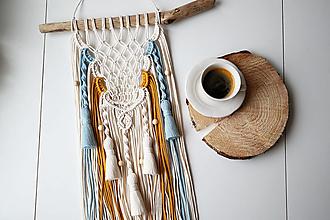 Dekorácie - Makramé dekorácia - Pavučinka snov - 13001201_