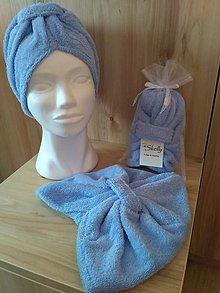 Čiapky - Kozmetický turban na vlasy - svetlomodrý - 13002258_