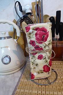 Úžitkový textil - kuchynské,bezodpadové utierky-červené maky - 13002848_