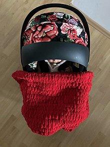 Textil - červená ručne pletená detská dečka - zimná deka pre bábätko - 13000124_