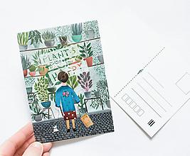 """Papier - Pohľadnica """"plants make You happy"""" - 13003769_"""