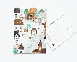 """Papier - Pohľadnica """"na gazdovskom dvore"""" - 13003845_"""