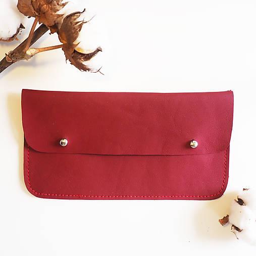 Peňaženky - Kožená peněženka bordová - 13006449_