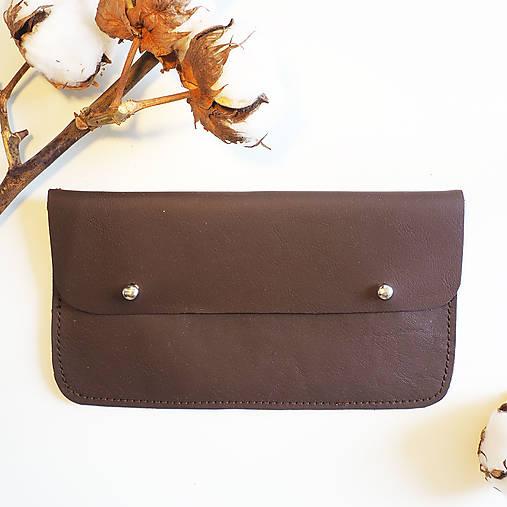 Peňaženky - Kožená peněženka hnědá - 13006569_