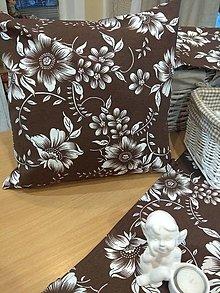 Úžitkový textil - Vankúš kvety na hnedom - 13009326_