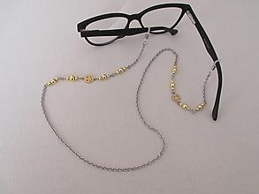 Iné šperky - Retiazka na okuliare - smajlík so zlatým hematitom - chirurgická oceľ - 13006216_