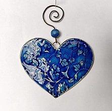 Dekorácie - Dekorácia na stenu - modré srdce - 13007520_